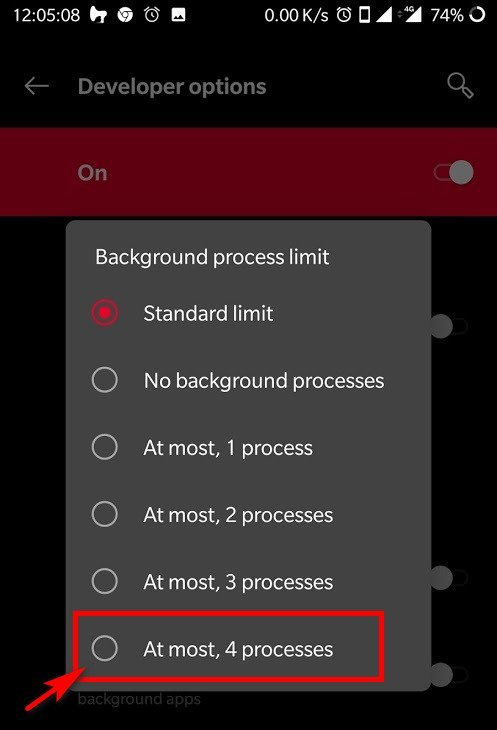android background limit process