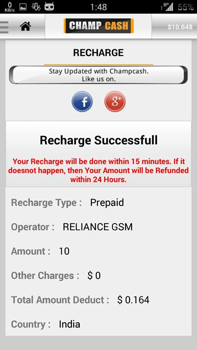 champcash free recharge app