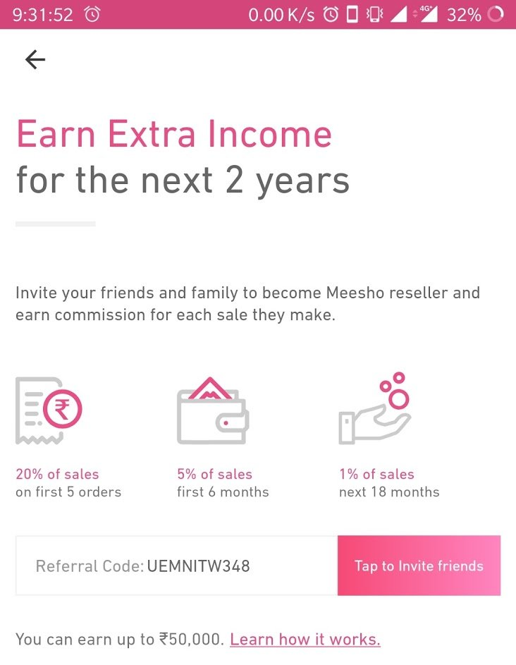 meesho refer earn sales commission