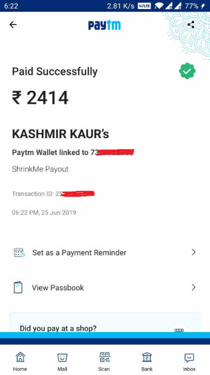 shrink me payment proof