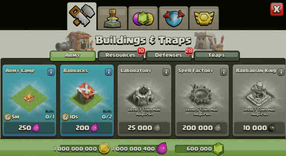 clash of clans unlimited everything