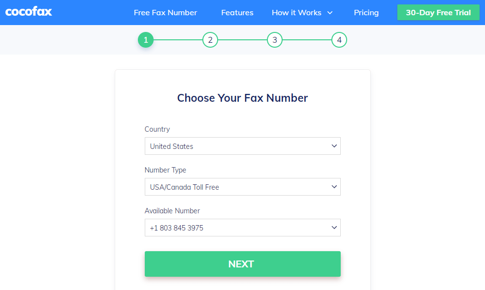 free trial choose fax number
