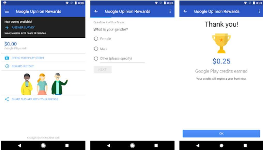 google-opinion rewards app free credits