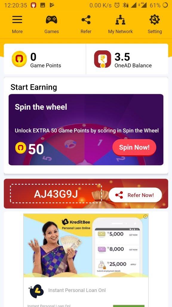 onead app referral code sponsor