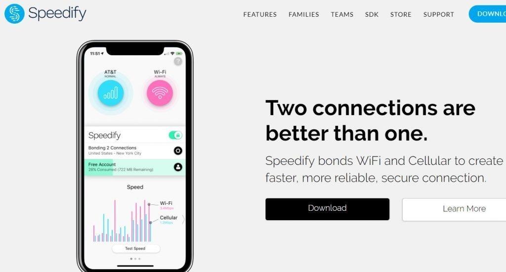 speedify use 2 wifi data same time