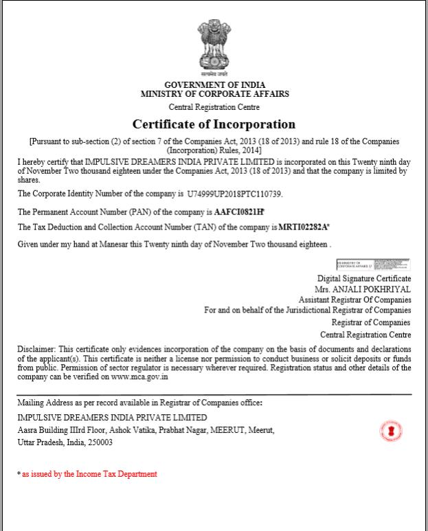impulsive dreamers legal certificate