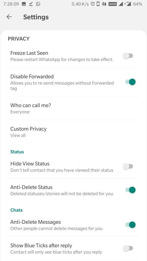aero whatsapp mod settings
