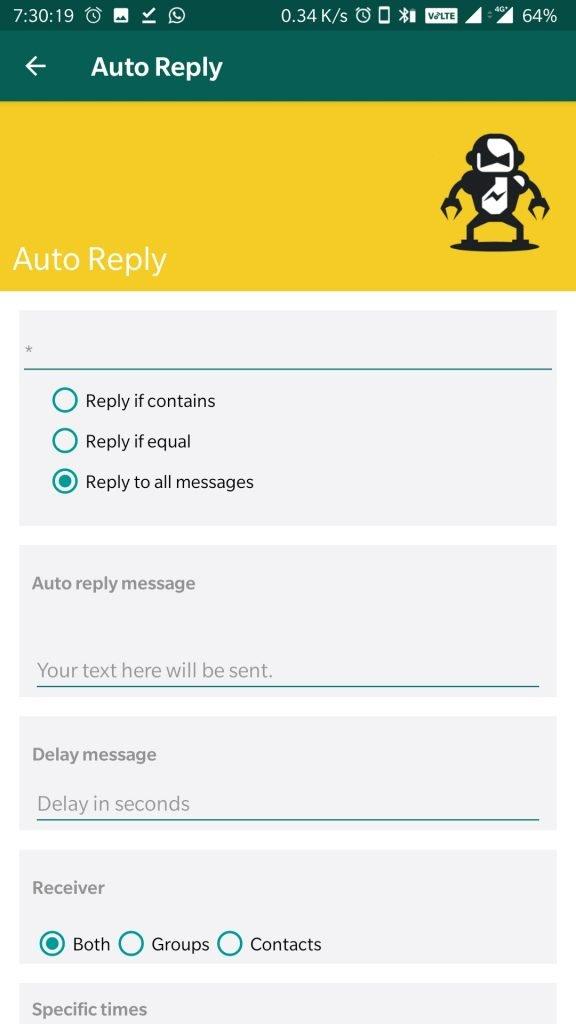 whatsapp aero auto reply feature