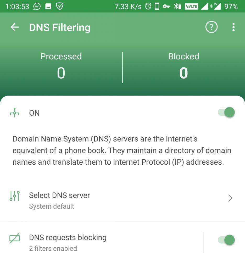 ad guard dns filtering