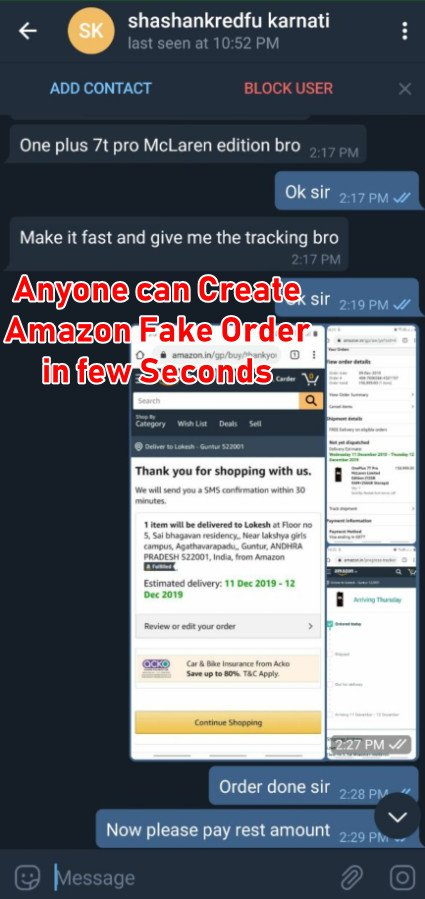 fake amazon carded phone order