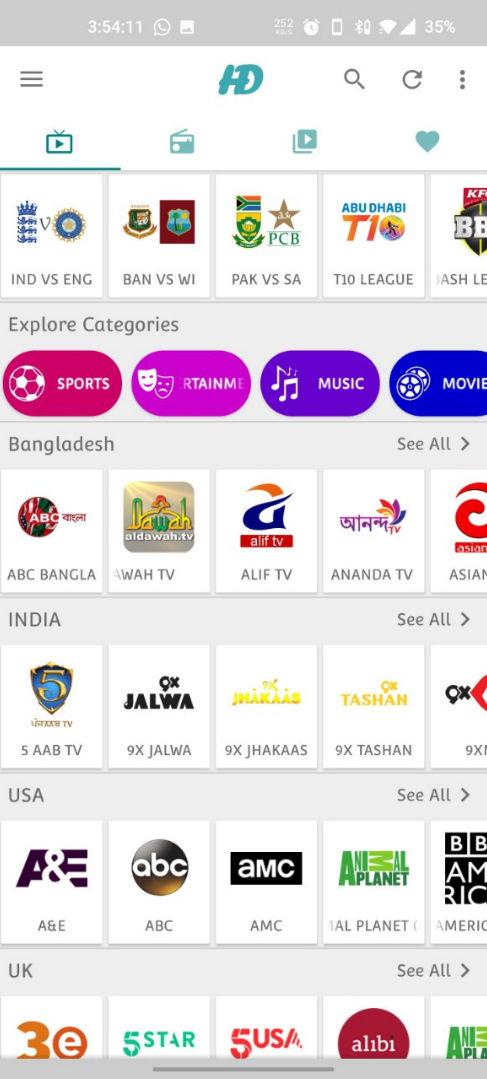 HD Streamz APK – Watch Live TV, Sports, Radio, Cartoon & Movies